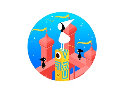 Monument Valley children isometric isometry flat adventure fairytale princess gaming iphone app android ios kawaii cute girl photoshop illustration videogame ida monumentvalley