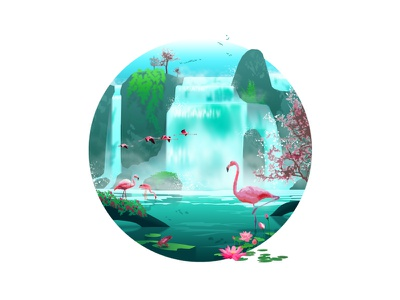The Cascades 🦩 tranquility vacation travel drawing lake plants water pink graphic design animals blue photoshop flat art design illustration nature oasis waterfall flamingo