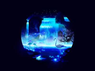 The Cascades: Inspirited 🦩 midnight fairytale fairy glowing oasis paradise light glow stars flamingo graphic design animals blue photoshop design illustration neon night nature waterfall