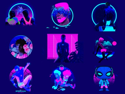 #2017BestNine 🎉 conceptual contemporary concept magenta pink cyan ultramarine 2017 boy queer gay neon clean blue graphic design photoshop flat character design illustration