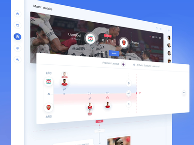 LineUp App - Details Live soccer fans match timeline sport football ui  ux animation objectivity app design ui