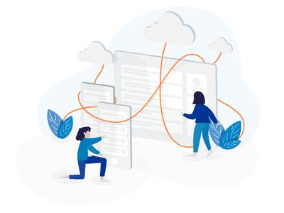 Low code proposition illustration illustration design vector ux ui objectivity business app