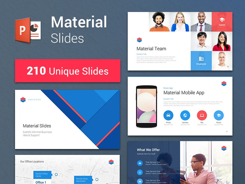 material design powerpoint template by erg u00fcn on dribbble
