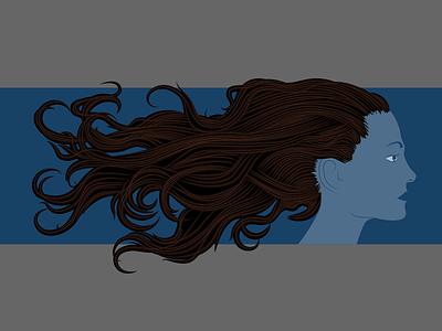 Hair Exploration illustrator lines hair illustration
