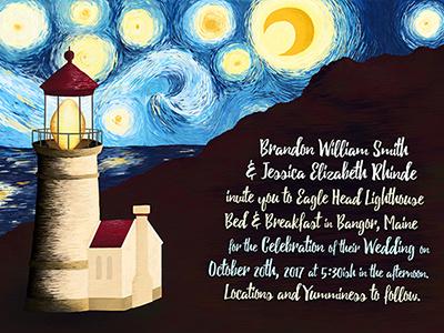 Starry Night Lighhouse - Wedding Invitations digital painting photoshop digital art custom wedding invitations wedding lighthouse starry night