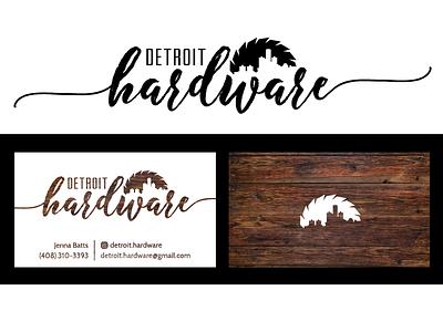 Detroit Hardware - Logo/Business Card Design logo design woodgrain skyline sawblade detroit identity branding design business card logo