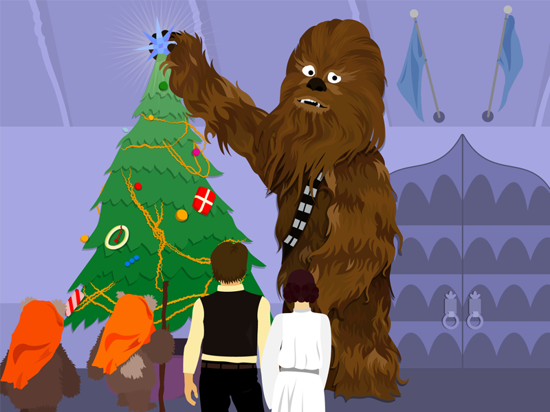 Bumble? Wookie? ewoks christmas adobe illustrator vector art vector illustrated illustrator mashup chewbacca classic rudolph rudolph star wars