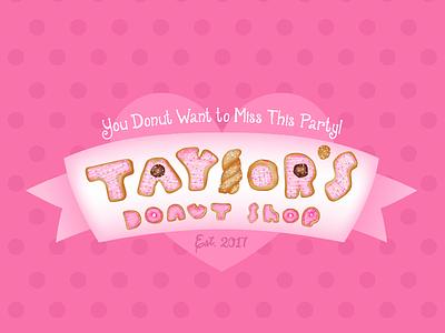 Donut Letters adobe illustrator gradient mesh pink girly cute birthday design first birthday donut handlettered handlettering