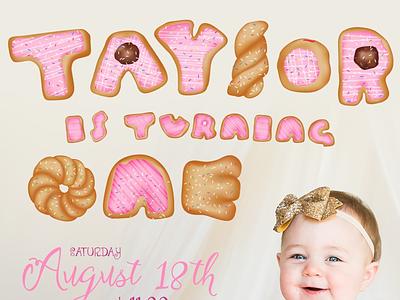 Donut Letters designer design pink girly adobe invitations cute illustrator gradient mesh donuts typography handlettering
