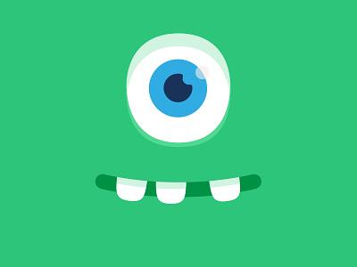 Happy green monster eyes teeth smile happy art branding design illustration vector character monster club monster
