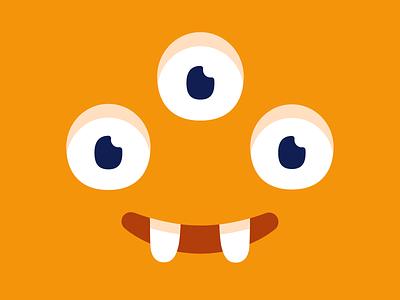 Happy monster head yellow eyes cute smile art design illustration vector character monster club monster