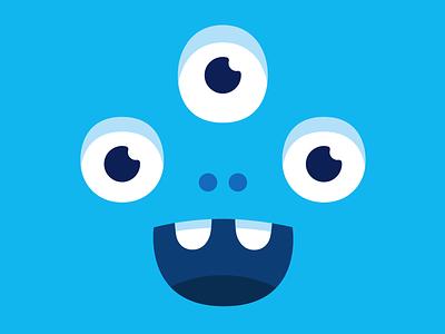 Happy blue monster happyness eyes art cute smile branding design illustration vector character monster club monster