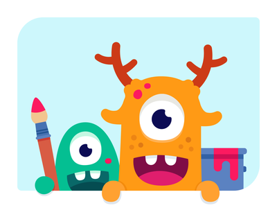 Creative monsters painting paint smile happy branding design illustration vector character monster club monster