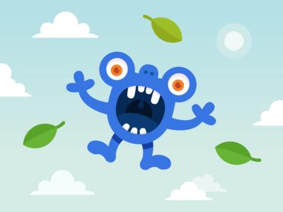 Floating monster sunny leaf art eyes sky branding design illustration vector character monster club monster