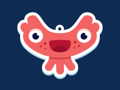 Little fishy charm jellyfish cute happy stickers charms design illustration vector character monster club monster
