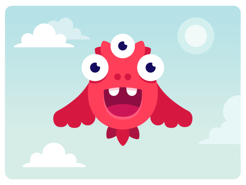 Bird monster birds clouds red sky bird branding design character monster club monster illustration vector