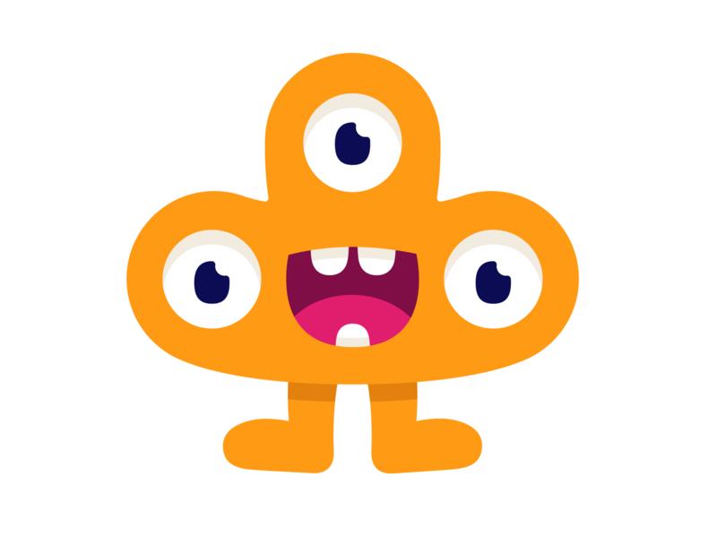 Little monster joy smile cute happy art eyes yellow character monster club monster illustration vector