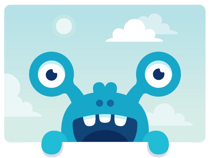 Happy little blue monster happy sticker hellow colors art branding print character monster club monster badge vector