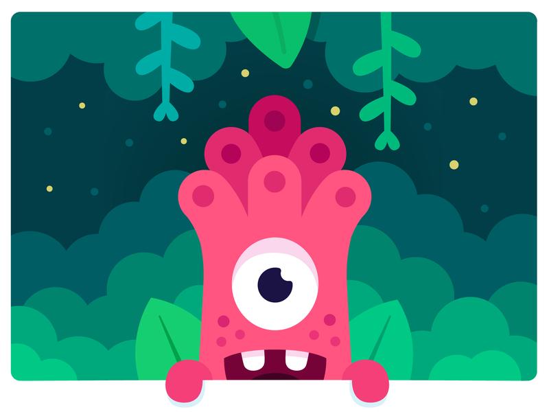 Jungle monster monster club happy cute plants jungle art fireflies design character monster illustration vector