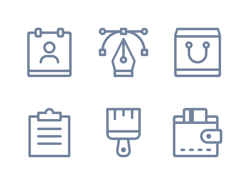 Webshop icons basket payment brand identity branding design icon monster club brand glyphs webshop custom icons