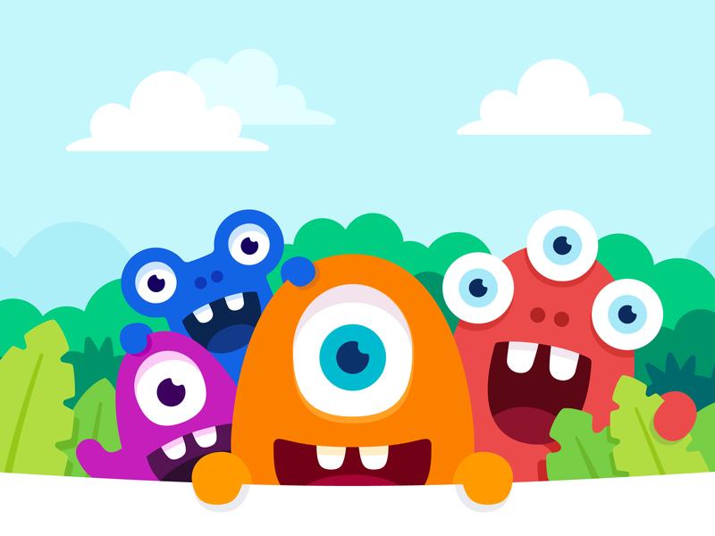 Webshop intro illustration vector website brand identity branding design jungle monster club brand monsters webshop custom illustration