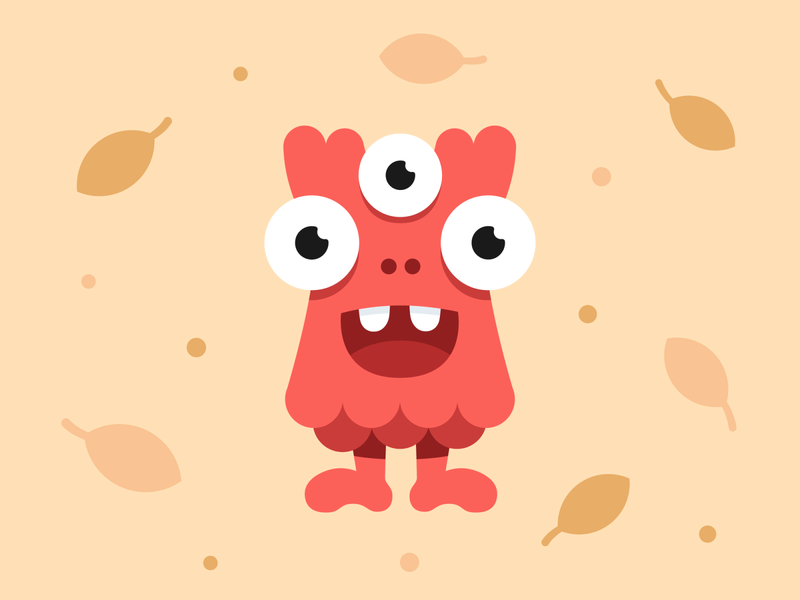 Red little monster red leafs autumn flying art happy design character monster illustration vector