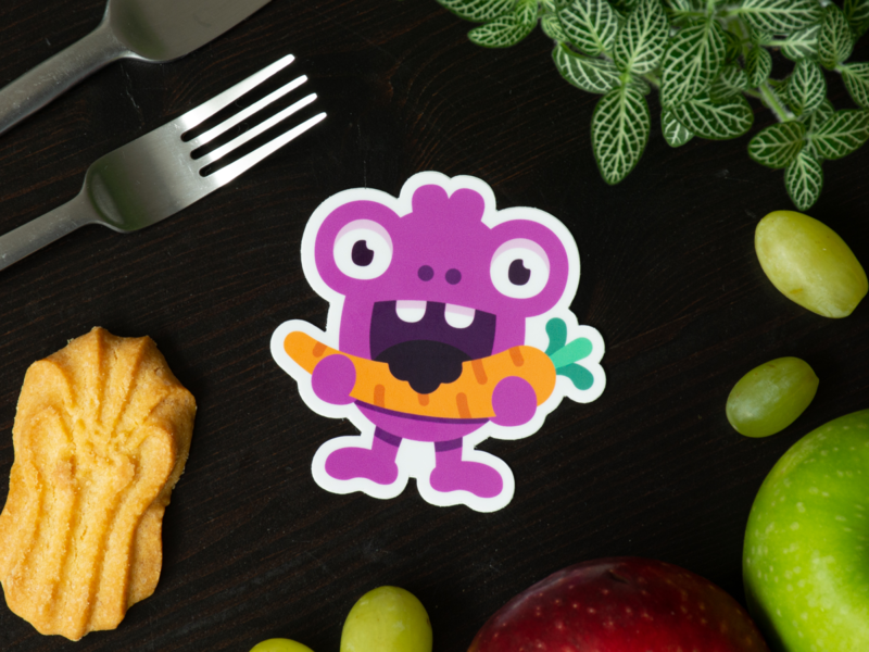 Hungry monster sticker carrot character food design monster monster club brand stickers webshop custom stickerset