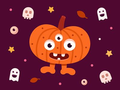 Halloween monster design monster stars illustration smile happy pumpkin branding monster club brand identity halloween vector