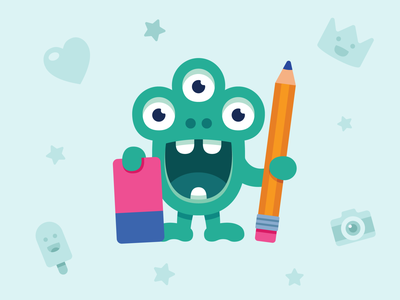 Creative monster tools pencil stickers product cute art branding design illustration vector character monster