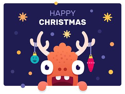 Happy christmas monster art smile branding reindeer monster club design illustration vector character stars christmas monster