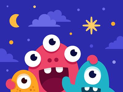 Happy 2020 night sky branding smile illustration vector design new year fireworks character monster club monster