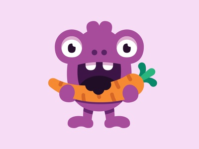 Healthy monster eyes stickers branding illustration carrot food healthy design vector character monster club monster