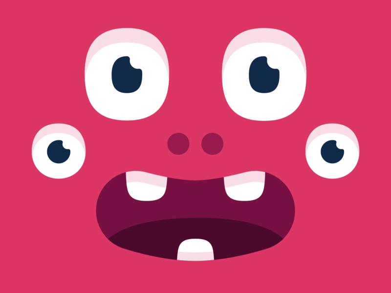 Scared monster colorful smile eyes branding design illustration vector character monster club monster