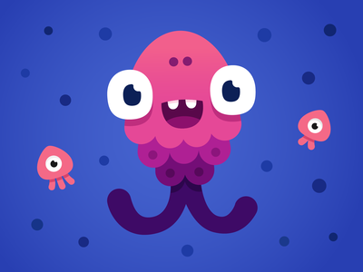Mommy fish monster fishes smile jellyfish fish happy art design illustration character vector monster monster club