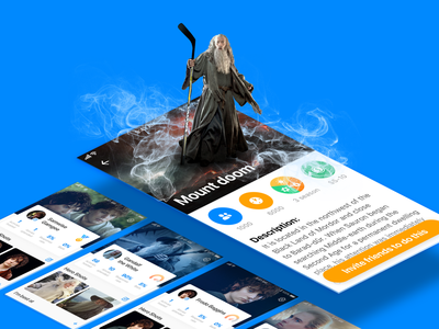 Funner. Activity and profile screens gandalf frodo lord of the rings icons event screen profile ios design app app design app ui ux