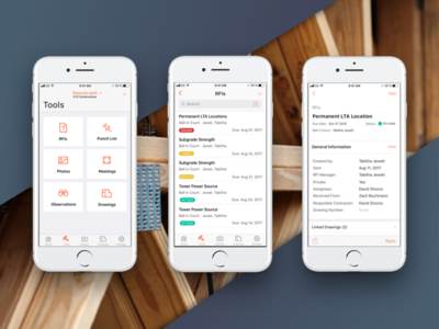 Procore iOS 2018 redesign clean design dashboard brand tools redesign construction ios