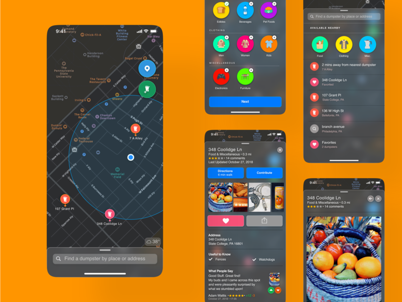 Dive apple design mobile ui mobile design ios app design ios design dumpster diving apple maps dark theme dark mode ux ui
