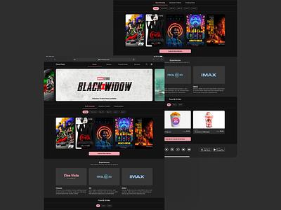 Cine Vista Movie Theater Web Mockups movie theater responsive web mockups material design google ux design dark theme dark mode ux ui