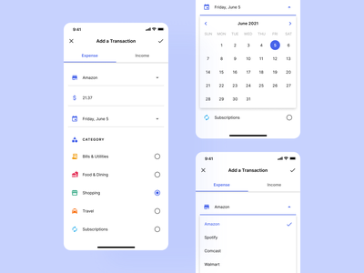 Allot 2.0: Material Redesign mobile ui dark theme dark mode budgeting app material design google ux design light mode ux ui