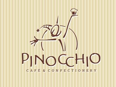 Pinocchio identity branding logo confectionery cafe pinocchio