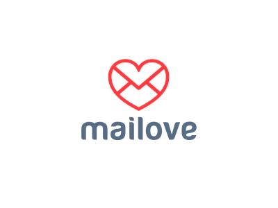 Mailove identity lettering brand logo love mail