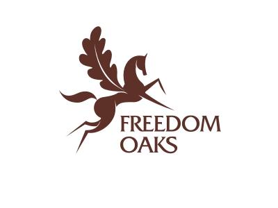 Freedom Oaks identity brand logo nature oak caring farm pegasus horse