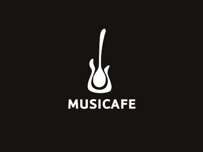 Musicafe logo logotype identity typography mark guitar cafe live music