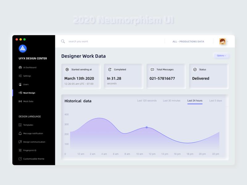UIYX Design data Neumorphism UI dashboard trend 2020 trend 2020 neumorphism data website web design web ui design