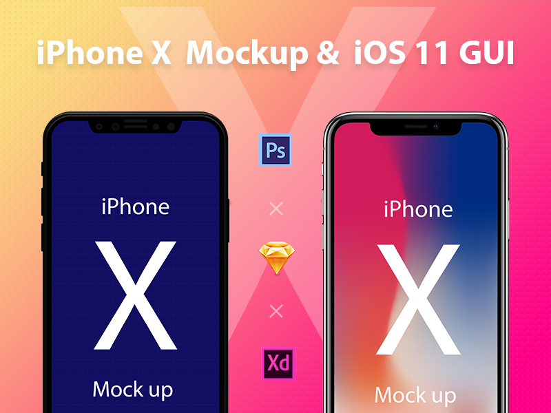 iPhone X Mockup & iOS 11 GUI by Jason | Dribbble | Dribbble Facebook Like Button Psd