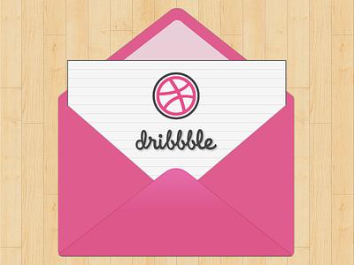 Hello World debut dribbble envelope invite