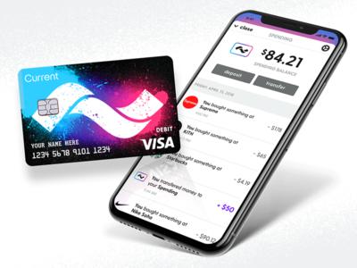 Current Rebrand cash finance money ux ui rebrand branding app teens card debit current