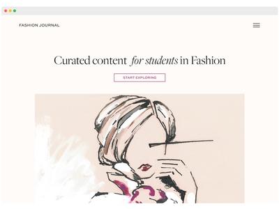 Fashion Journal landing page website web ui nude minimal logotype landing journal homepage fashion clean