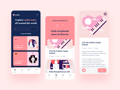 Audio Guides App audio icons application app player guide travel pink product designs design ux ui illustration clean