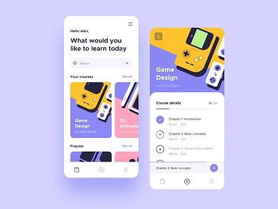Learning Platform App courses product design online education learning application app design animation ux ui illustration clean